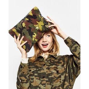Zara Military Print Patches Clutch Bag